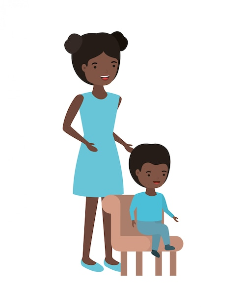 Frau mit dem baby, das auf stuhlavatara sitzt Premium Vektoren