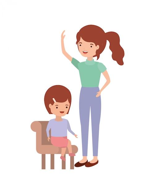 Frau mit dem baby, das auf stuhlavatarazeichen sitzt Premium Vektoren