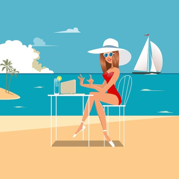 Frau mit einem laptop am strand. mädchen am strand arbeiten. Premium Vektoren
