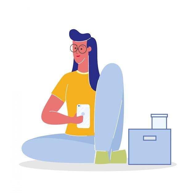 Frau mit flacher vektor-illustration smartphones Premium Vektoren