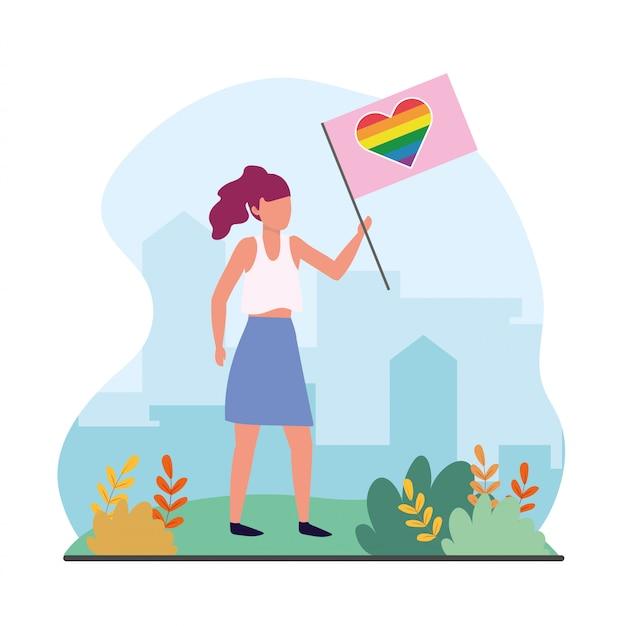 Frau mit herzregenbogenflagge zu lgtb feier Premium Vektoren