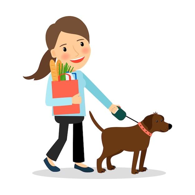 Frau mit hund und beutel mit essen Premium Vektoren