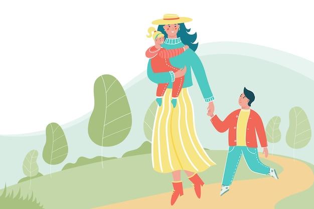 Frau mit kindern, die im park mit einem platz für ihren text gehen. glückliche mutter mit kindern, die spaß zusammen haben. Premium Vektoren