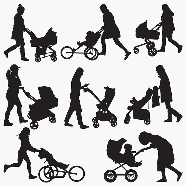 Frau mit kinderwagen silhouetten Premium Vektoren