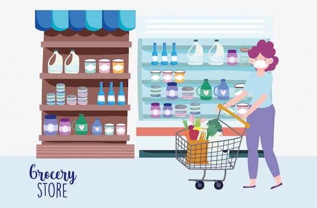 Frau mit medizinischer maske und einkaufswagen auf dem markt, lebensmittelgeschäftillustration Premium Vektoren