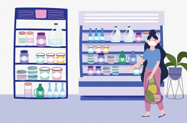 Frau mit medizinischer maske und umweltfreundlicher tasche in der marktillustration Premium Vektoren
