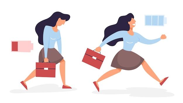 Frau mit niedrigem und hohem energieniveau Premium Vektoren