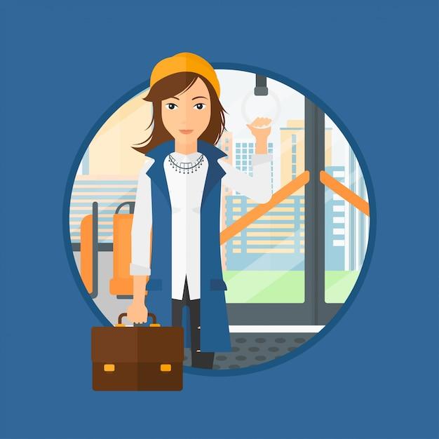 Frau mit öffentlichen verkehrsmitteln unterwegs. Premium Vektoren