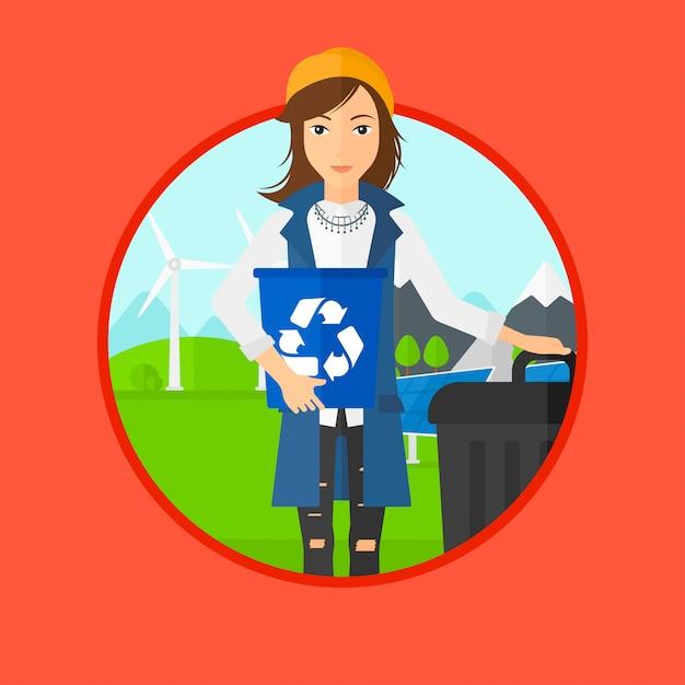 Frau mit papierkorb und mülleimer. Premium Vektoren