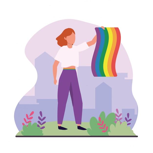 Frau mit regenbogenfahne zur lgbt feier Premium Vektoren