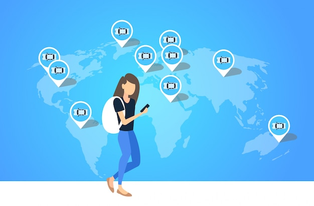 Frau mit smartphone mobile app mädchen bestellung taxi taxi miete carsharing transportservicekonzept ort geo-tags auf der weltkarte in voller länge horizontal Premium Vektoren