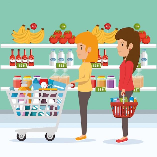 Frau mit supermarkt lebensmittel Kostenlosen Vektoren