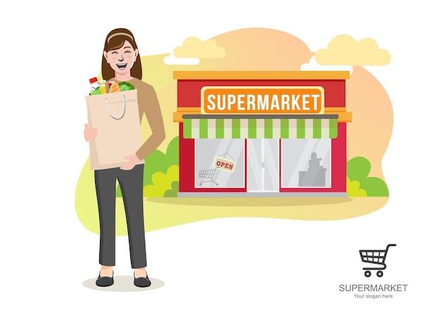 Frau mit supermarktlebensmitteln, junge frau, die papiereinkaufstaschen-karikatur trägt Premium Vektoren