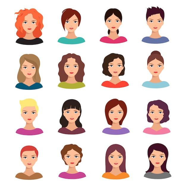 Frau mit unterschiedlicher frisur. schöner junger weiblicher gesichtsavatarsatz Premium Vektoren