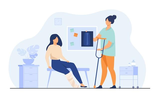Frau mit verletztem gebrochenem bein im gipsabdruck, der in der arztpraxis sitzt und röntgen und krücke nimmt. vektorillustration für trauma, krankenhaus, behandlung, physiotherapiekonzept Kostenlosen Vektoren
