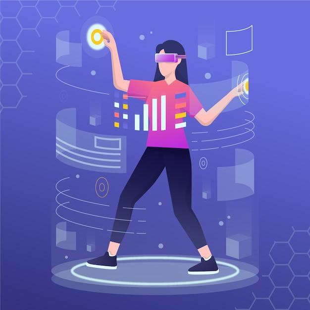 Frau mit virtual-reality-headset Kostenlosen Vektoren