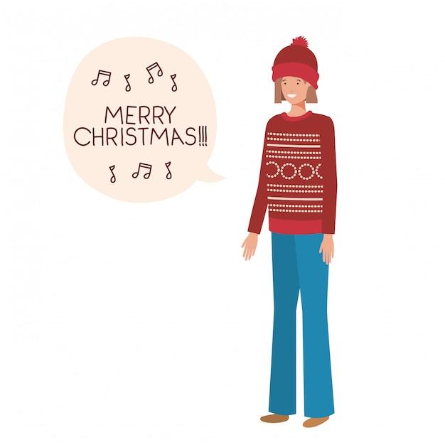 Frau mit winterkleidung und spracheblase Premium Vektoren