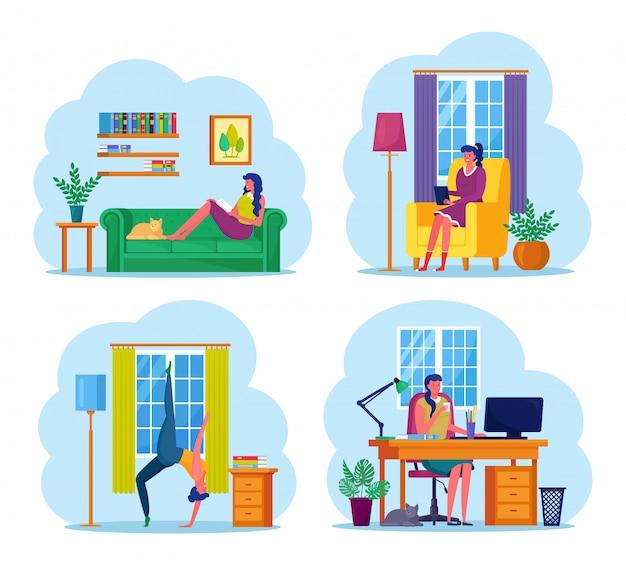 Frau mittleren alters, die zu hause arbeitet. charakter sitzt auf dem sofa, am schreibtisch, mit computer. mädchen, das yoga, pilates, übungen, dehnen tut. freiberufliche fernarbeit, online-studium, bildung. Premium Vektoren