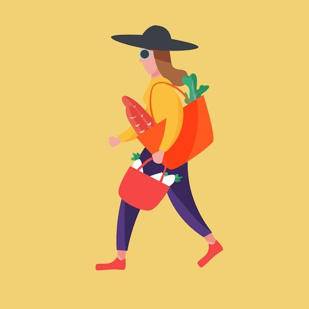 Frau nach dem einkaufen gemüse Premium Vektoren