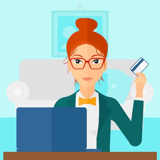 Frau online einkaufen Premium Vektoren