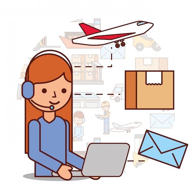 Frau operator logistische kopfhörer und box umschlag flugzeug Premium Vektoren