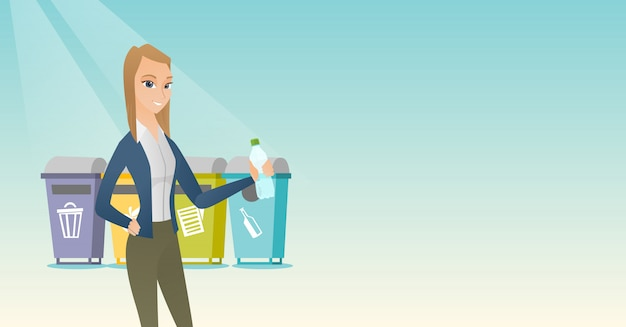 Frau plastikflasche wegwerfen. Premium Vektoren
