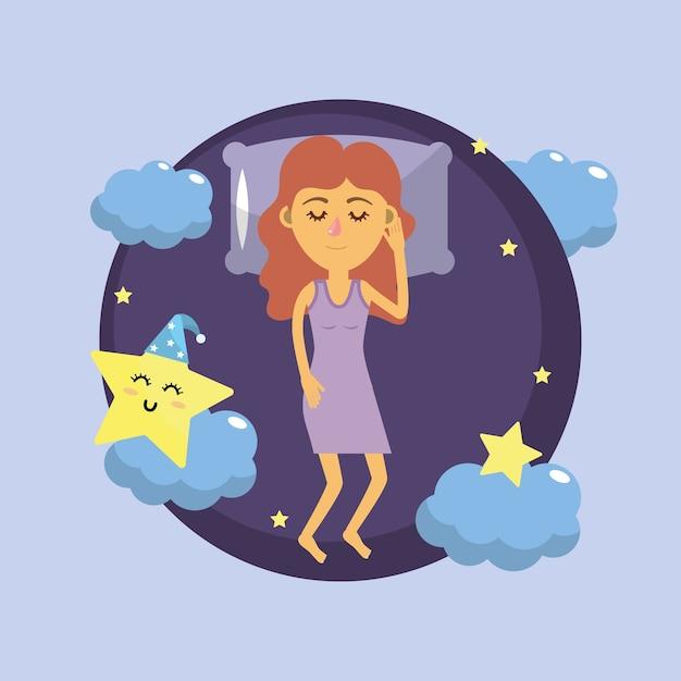 Frau schläft und gute nacht Premium Vektoren
