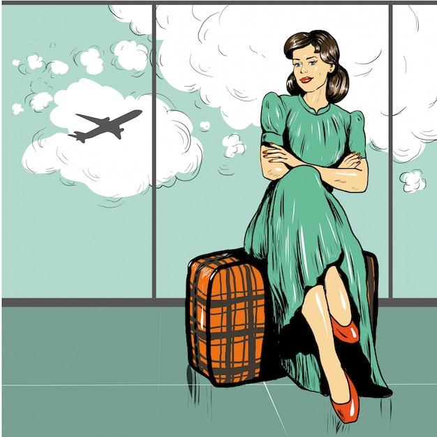 Frau sitzen auf einer tasche im flughafen, der auf einen flug wartet Premium Vektoren