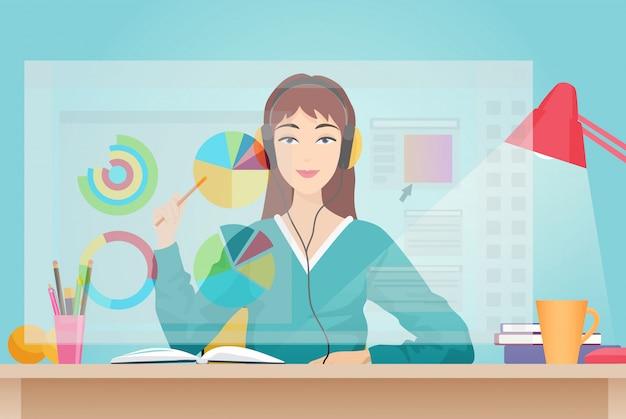 Frau sitzt gegenüber dem virtuellen bildschirm Premium Vektoren