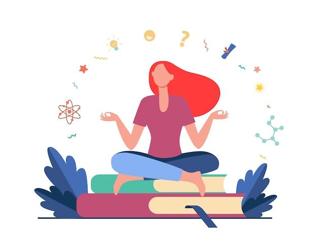 Frau sitzt und meditiert auf stapel bücher. student, studieren, flache vektorillustration lernen. bildung und wissen Kostenlosen Vektoren