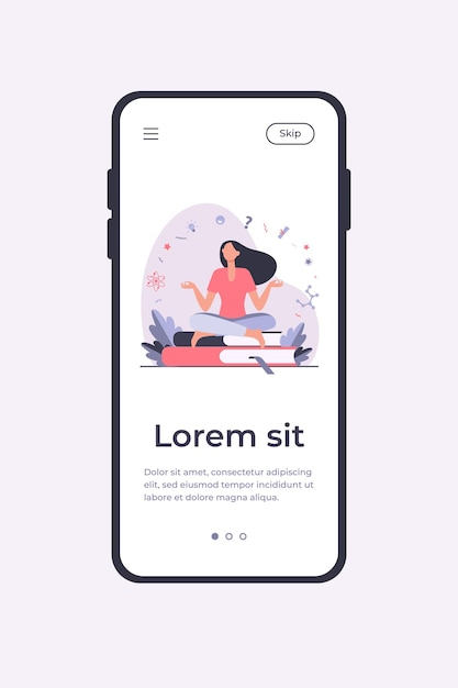 Frau sitzt und meditiert auf stapel bücher. student, studieren, flache vektorillustration lernen. mobile app-vorlage für bildungs- und wissenskonzepte Kostenlosen Vektoren