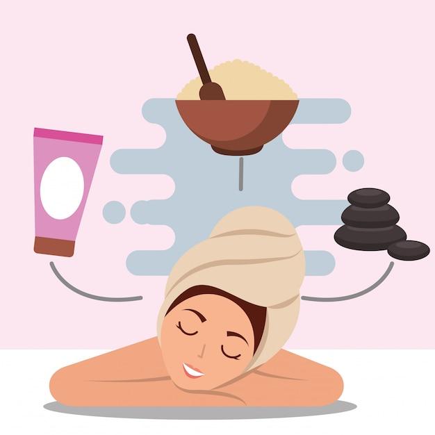 Frau spa wellness Premium Vektoren
