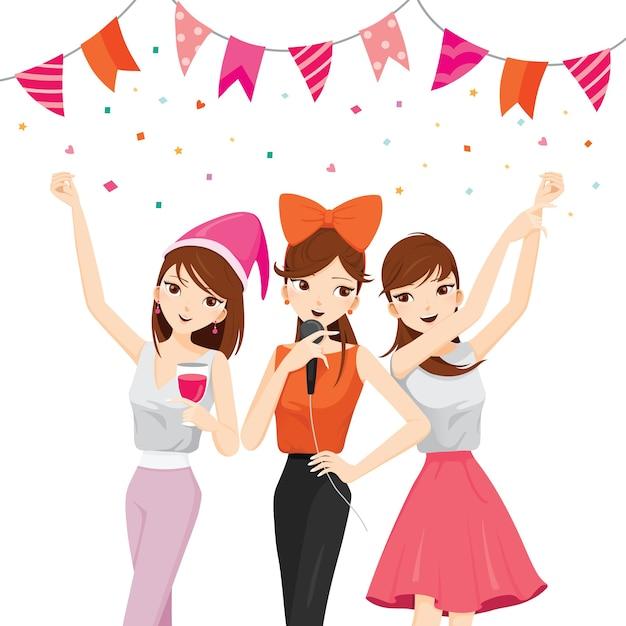 Frau spaß in party mit getränken, singen, tanzen, trinken Premium Vektoren