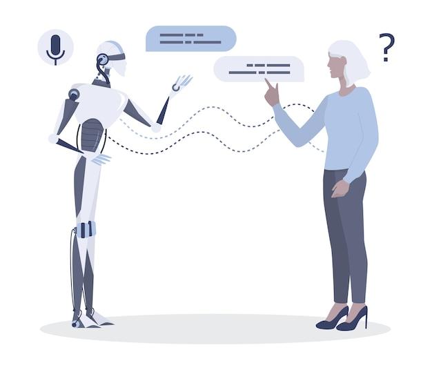 Frau spricht mit roboter. gespräch zwischen frau und künstlicher intelligenz. chatbot und technisches support-konzept. illustration Premium Vektoren