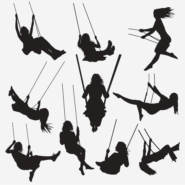 Frau swing silhouetten Premium Vektoren