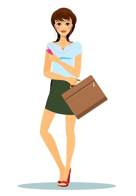Frau trägt kurzen grünen rock, blaues t-shirt und rote high-heels Kostenlosen Vektoren