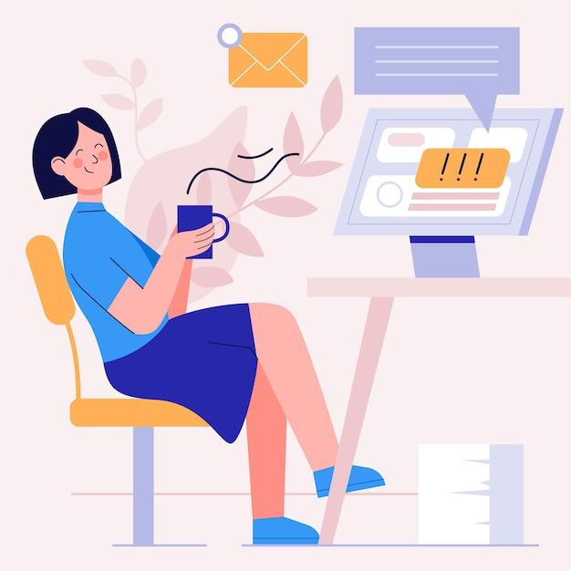 Frau trinkt ihren kaffee und ignoriert die e-mails Kostenlosen Vektoren
