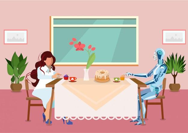 Frau trinkt tee mit flacher illustration cyborgs Premium Vektoren