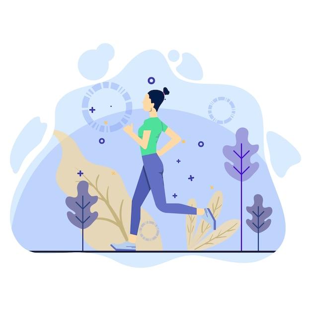 Frau tun tägliches training, indem sie illustrationskonzept laufen lässt Premium Vektoren