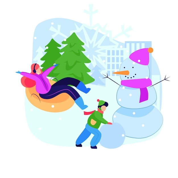 Frau und kind, die winteraktivitäten genießen Kostenlosen Vektoren