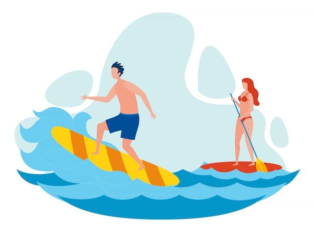 Frau und mann, die flache vektor-illustration surfen Premium Vektoren