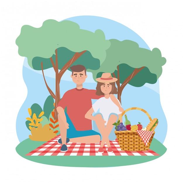 Frau und mann mit sandwinch und trauben mit apfel Kostenlosen Vektoren