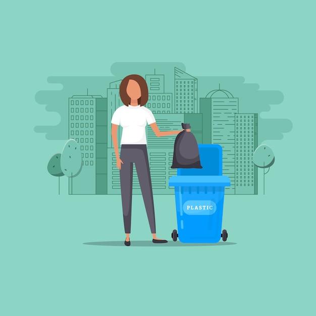 Frau wirft müll in einen organischen behälter Premium Vektoren