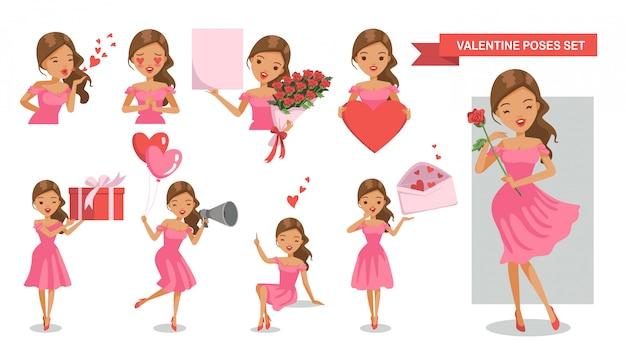 Frau zeichen haltung festgelegt. verliebt. valentinstag.   Premium-Vektor