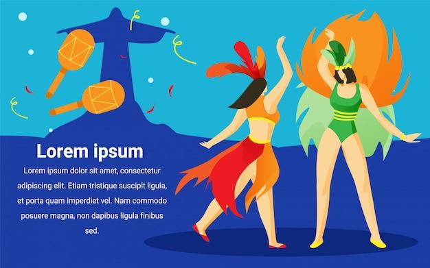 Frauen am brasilianischen karneval. werbebild. Premium Vektoren