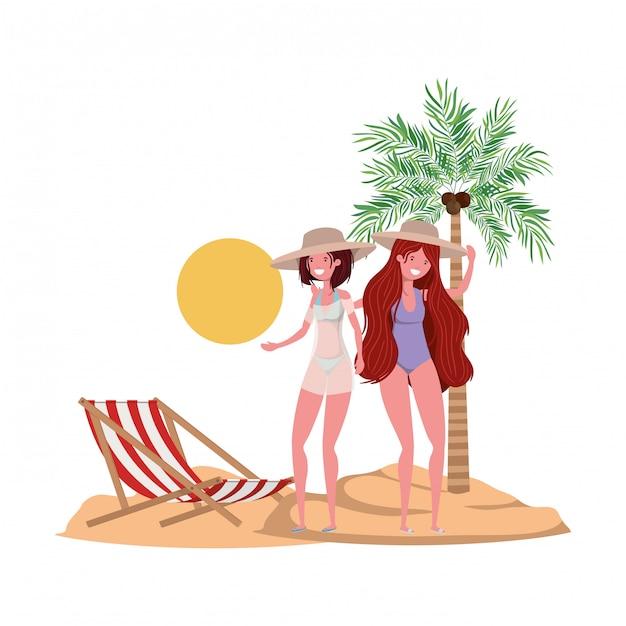 Frauen am strand mit badeanzug und handflächen Kostenlosen Vektoren