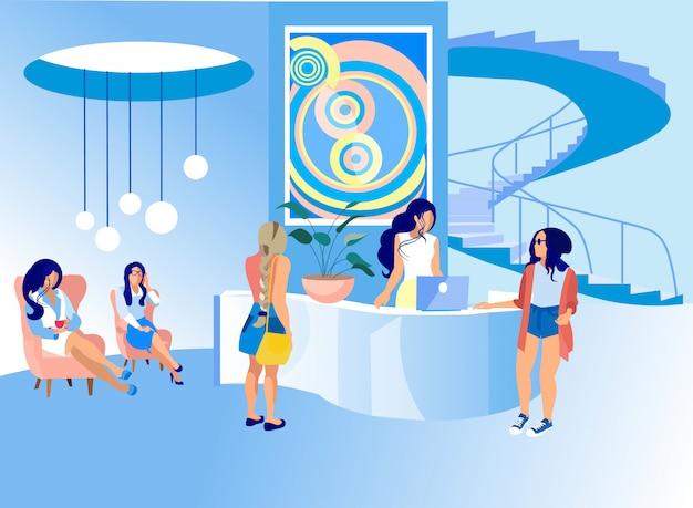 Frauen an der rezeption im art center. kunstgalerie. Premium Vektoren