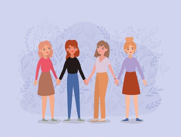 Frauen avatare händchen haltend Premium Vektoren