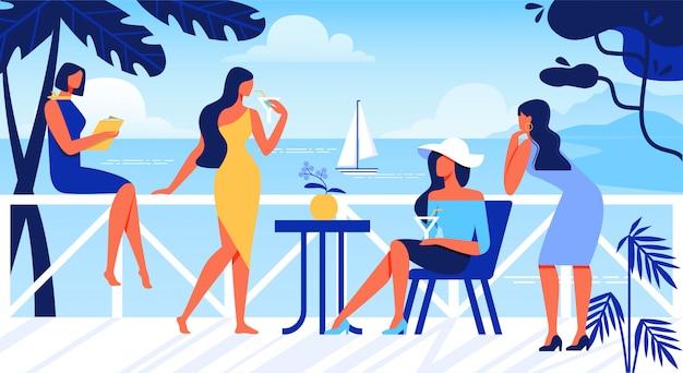 Frauen, die auf freiluft-terrasse mit seeansicht sich entspannen. Premium Vektoren