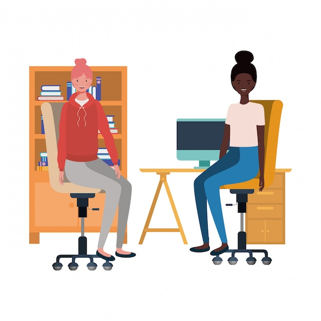 Frauen, die im arbeitsbüro mit weiß sitzen Premium Vektoren